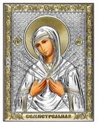 Семистрельная Божия Матерь, серебряная икона с позолотой на дереве (Beltrami)