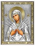 Семистрельная Божия Матерь, серебряная икона с позолотой рамка магнит (Beltrami)