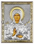 Матрона Московская, серебряная икона с позолотой на дереве (Beltrami)