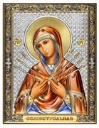 Семистрельная Божия Матерь, серебряная икона с позолотой и цветной эмалью на дереве (Beltrami)