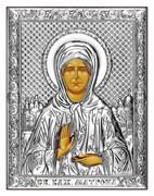 Матрона Московская, серебряная икона на дереве (Beltrami)