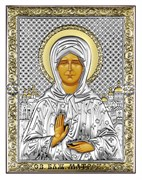 Матрона Московская, серебряная икона с позолотой, рамка-магнит (Beltrami)