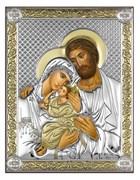 Святое Семейство, серебряная икона с позолотой на дереве (Beltrami)