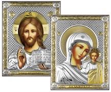 Венчальная пара, серебряные иконы с позолотой, лик шелкография (Казанская)