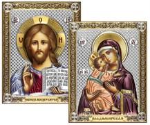 Венчальная пара, серебряные иконы с позолотой и цветной эмалью, лик шелкография (Владимирская)