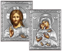 Венчальная пара, серебряные иконы, лик шелкография (Владимирская)