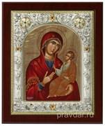Путеводительница Божья Матерь, икона 14х17 см, шелкография, серебряный оклад, золочение, кристаллы Swarovski