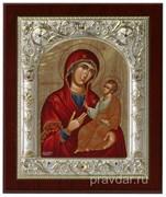 Путеводительница Божья Матерь, икона шелкография, серебряный оклад, золочение+, кристаллы Swarovski (14х17 см)
