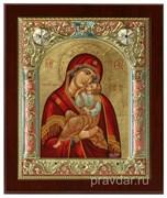 Взыграние Младенца Божья Матерь, икона 14х17 см, шелкография, серебряный оклад, золочение, цветная эмаль, кристаллы Swarovski