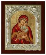 Взыграние Младенца Божья Матерь, икона шелкография, серебряный оклад, золочение+, кристаллы Swarovski (14х17 см)