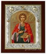 Пантелеймон целитель, икона 14х17 см, шелкография, серебряный оклад, золочение, кристаллы Swarovski