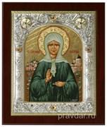 Матрона Московская, икона 14х17 см, шелкография, серебряный оклад, золочение, кристаллы Swarovski