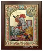 Георгий Победоносец, икона 14х17 см, шелкография, серебряный оклад, золочение, цветная эмаль, кристаллы Swarovski
