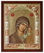 Казанская Божья Матерь, икона 24х29 см, шелкография, серебряный оклад, золочение, цветная эмаль (красный), кристаллы Swarovski