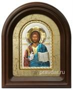 Спас Вседержитель, серебряная икона в деревянном киоте, золочение, цветная эмаль