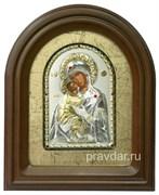 Владимирская Божья Матерь, серебряная икона в деревянном киоте, золочение