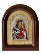 Вифлеемская Божья Матерь, серебряная икона в деревянном киоте, золочение, цветная эмаль