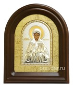 Матрона Московская, серебряная икона в деревянном киоте, золочение