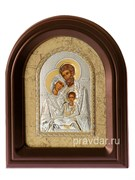 Святое Семейство, серебряная икона в деревянном киоте, золочение