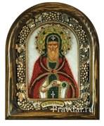 Никита Преподобный, дивеевская икона из бисера ручной работы