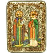 Петр и Феврония икона ручной работы Old Modern 15х20 см