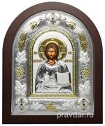 Спас Премудрый, греческая икона шелкография, серебряный оклад с виноградной лозой