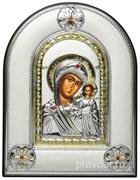 Казанская Божья Матерь, греческая икона шелкография, серебряный оклад, рамка в коже