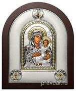Иерусалимская Божья Матерь, греческая икона шелкография, серебряный оклад