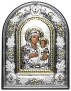 Иерусалимская Божья Матерь, греческая икона шелкография, серебряный оклад с виноградной лозой, рамка в коже