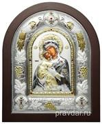 Владимирская Божья Матерь, греческая икона шелкография, серебряный оклад с виноградной лозой