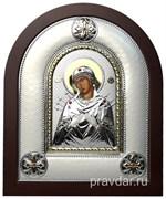 Семистрельная Божья Матерь, греческая икона шелкография, серебряный оклад