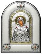 Семистрельная Божья Матерь, греческая икона шелкография, серебряный оклад, рамка в коже