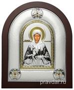 Матрона Московская, греческая икона шелкография, серебряный оклад