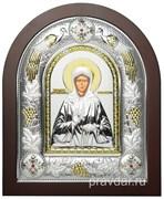 Матрона Московская, греческая икона шелкография, серебряный оклад с виноградной лозой