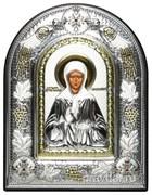 Матрона Московская, греческая икона шелкография, серебряный оклад с виноградной лозой, рамка в коже