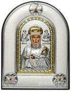 Николай Чудотворец, греческая икона шелкография, серебряный оклад, рамка в коже