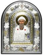 Спиридон Тримифунтский, греческая икона шелкография, серебряный оклад с виноградной лозой, рамка в коже