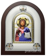 Спас Премудрый, греческая икона шелкография, серебряный оклад, цветная эмаль