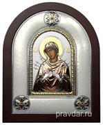 Семистрельная Божья Матерь, греческая икона шелкография, серебряный оклад, цветная эмаль