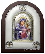 Вифлеемская Божья Матерь, греческая икона шелкография, серебряный оклад, цветная эмаль