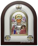 Николай Чудотворец, греческая икона шелкография, серебряный оклад, цветная эмаль