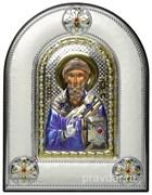 Спиридон Тримифунтский, греческая икона шелкография, серебряный оклад, цветная эмаль, рамка в коже