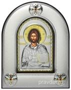 Спас Премудрый, серебряная икона в киоте со стеклом