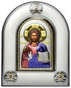 Спас Премудрый, серебряная икона в киоте со стеклом, цветная эмаль
