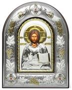 Спас Премудрый, серебряная икона в киоте со стеклом, виноградная лоза