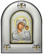 Казанская Божья Матерь, серебряная икона в киоте со стеклом