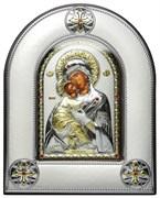 Владимирская Божья Матерь, серебряная икона в киоте со стеклом