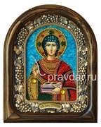 Пантелеймон Святой Великомученик, дивеевская икона из бисера ручной работы