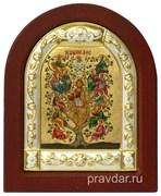 Спас Древо Жизни, икона шелкография, деревянный оклад, серебряная рамка