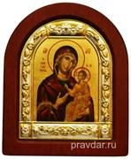 Иверская Божья Матерь, икона шелкография, деревянный оклад, серебряная рамка